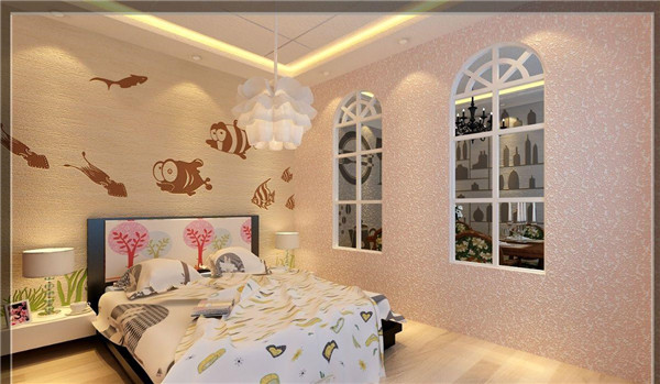 硅藻泥装饰卧室墙面效果