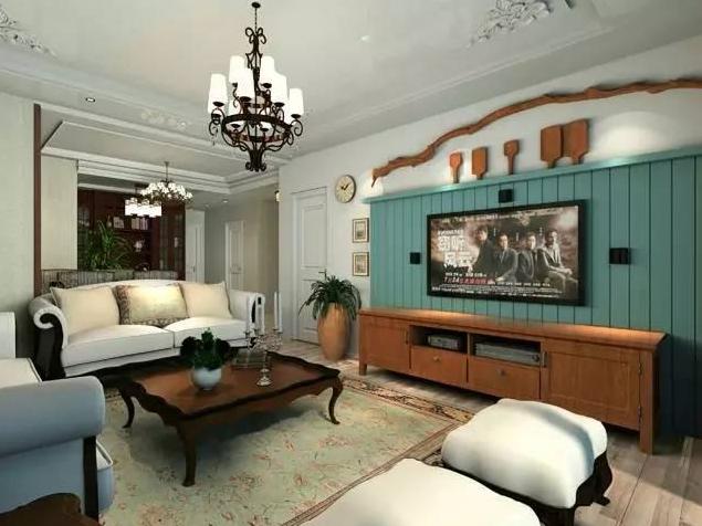 柳州美式乡村风格客厅装修