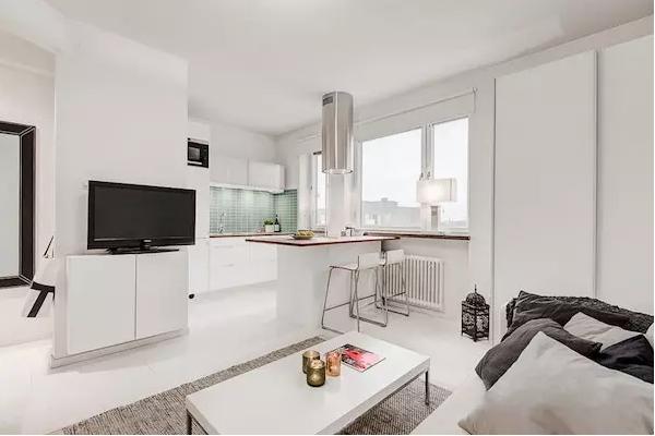 25平米单身公寓效果图——纯白色主基调