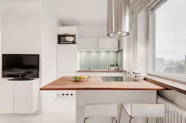 25平米单身公寓效果图——高脚凳餐椅