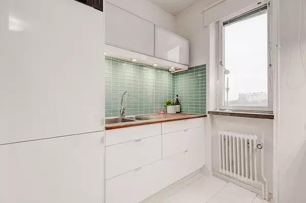25平米单身公寓效果图——上下排的橱柜