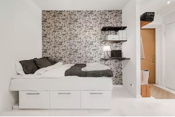 25平米单身公寓效果图——单人床