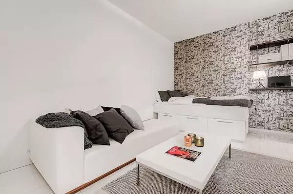 25平米单身公寓效果图——背景墙