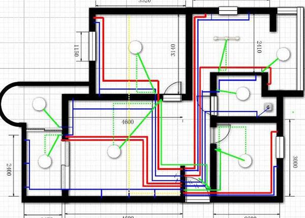 三室一厅电路布线图例