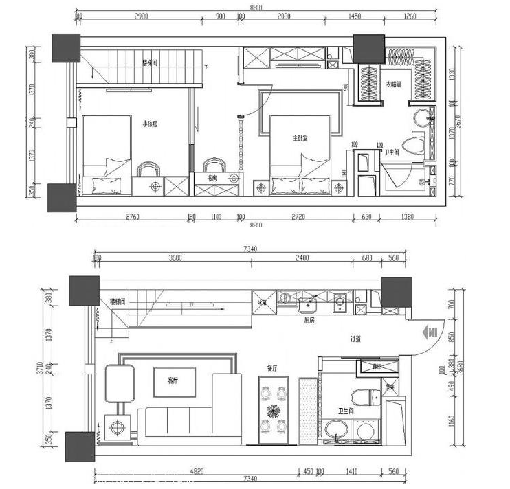 55平米12万小复式loft混搭装修实景图