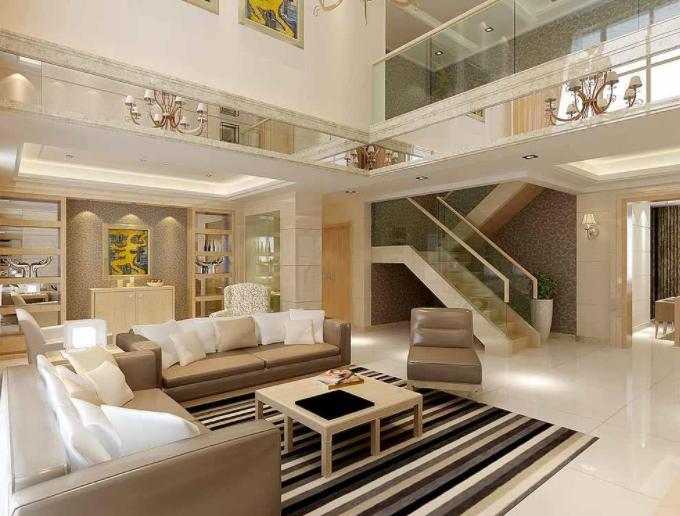 洛阳现代简约别墅客厅装潢效果图