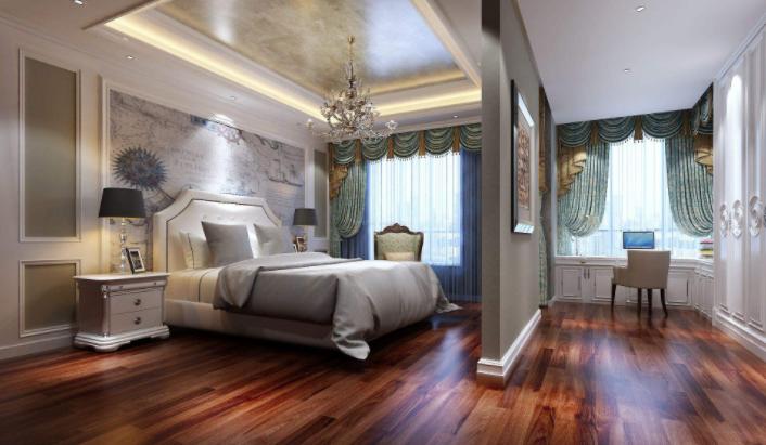 洛阳美式风格别墅卧室床头背景墙装修效果图