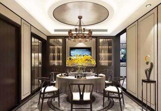 洛阳新中式风格别墅餐厅装修效果图