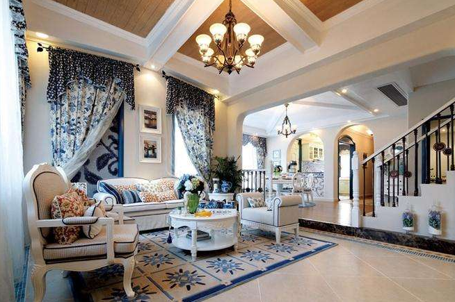 洛阳地中海风格别墅客厅装修效果图