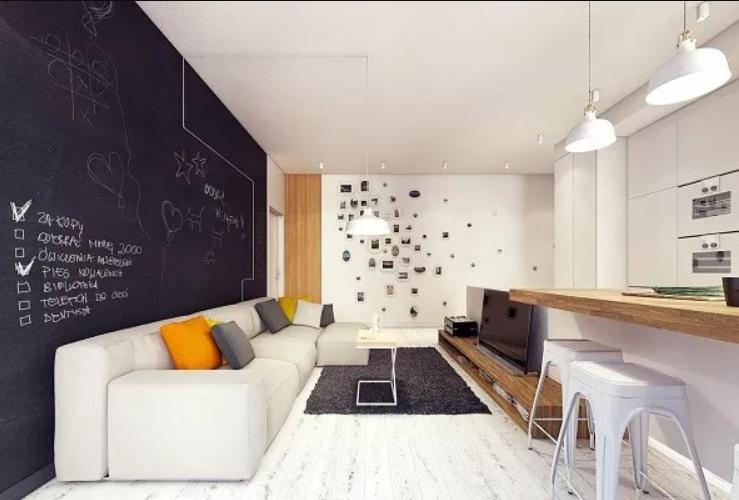 南昌单身公寓装修效果图-客厅厨房