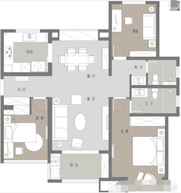 呼和浩特三室两厅户型图