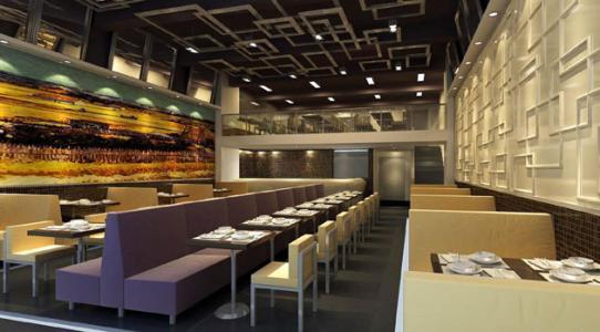 黄冈茶餐厅装修传统风格效果图