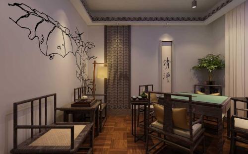 黄冈茶餐厅装修田园风格效果图