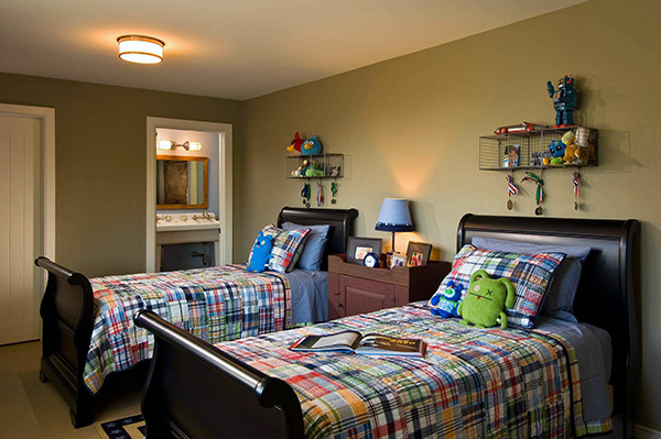一个卧室改两间儿童房 儿童房两张床装修设计