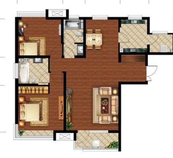铜川123平米三居室房子的户型图