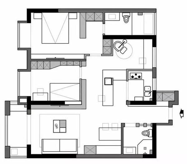 三居室装修户型图