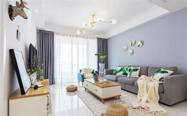 天津83平米小户型装修客厅实景图