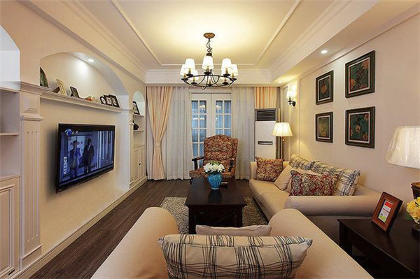 天津93平米三室两厅装修客厅效果图