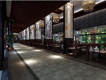 威海茶楼装修仿古式设计