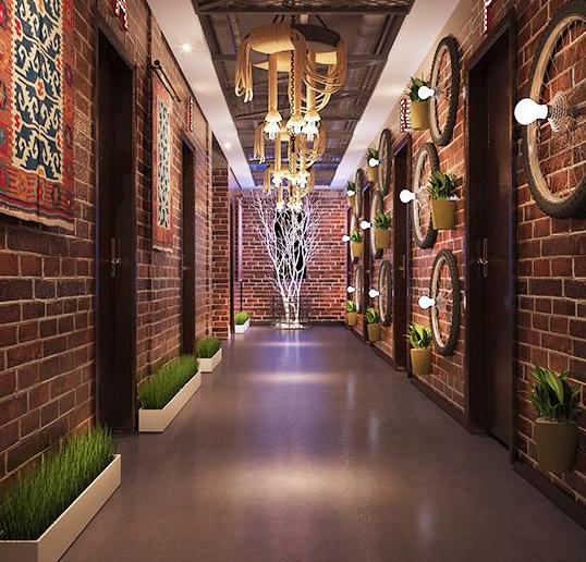 海口餐厅二层走廊装修