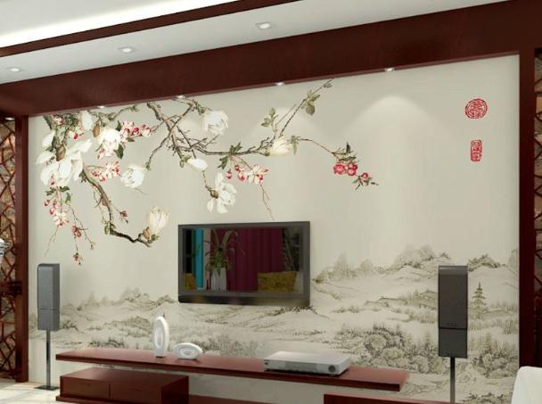 电视背景墙墙画效果图1