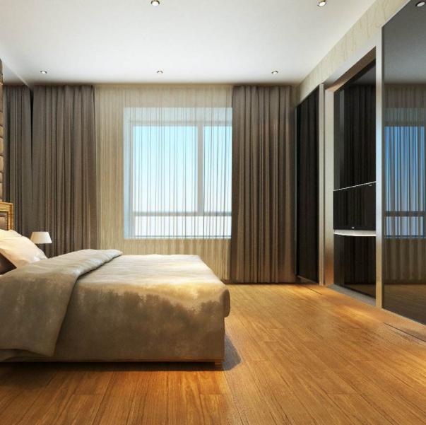 原木色地板窗帘搭配效果案例