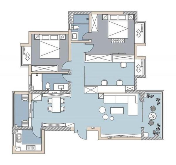 福州三居室装修效果图