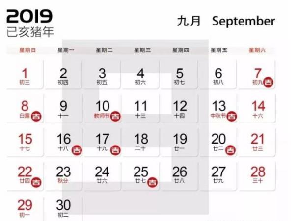 2019年9月装修开工吉日