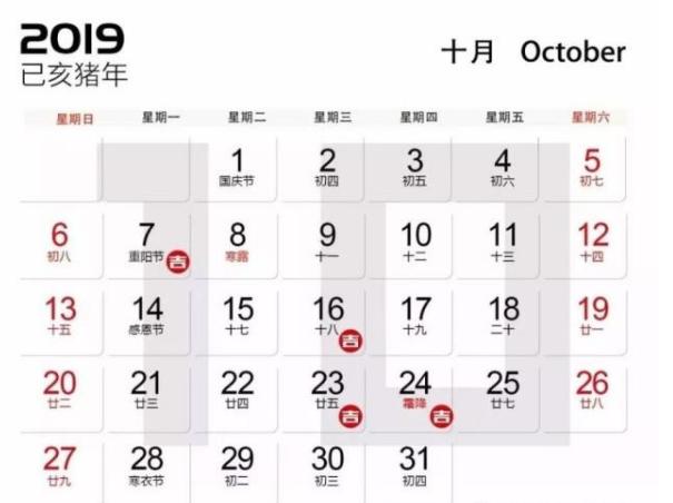 2019年10月装修开工吉日