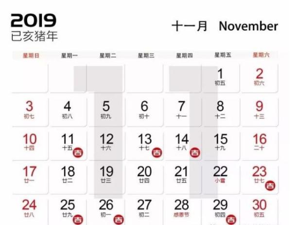 2019年11月装修开工吉日