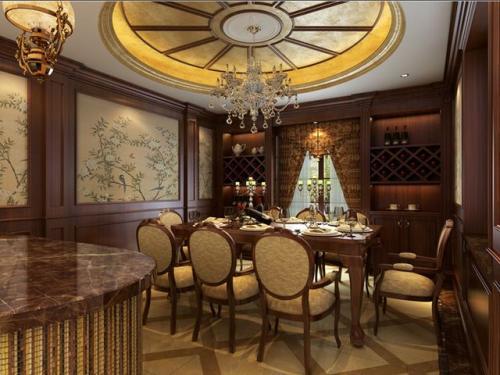 饭店装修古典质朴风格设计效果图