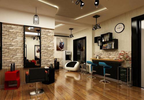 美发店装修现代简约风格设计效果图