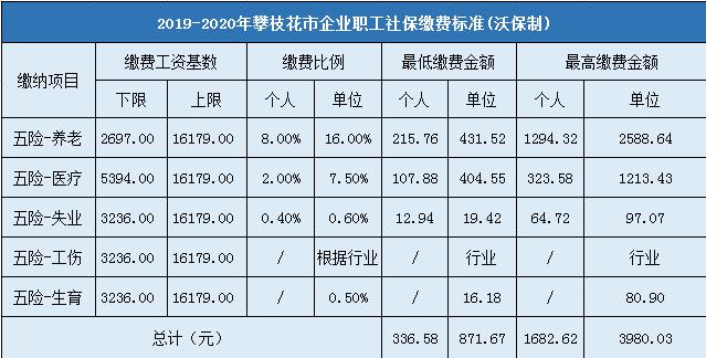 2019-2020年攀枝花城镇企业职工社会保险缴费标准