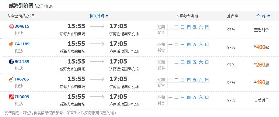 威海到济南机票价格