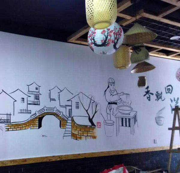 简单漂亮的手绘墙画制作