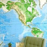 蓝色地图背景墙