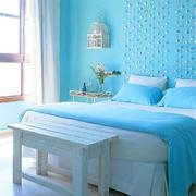 蓝色卧室窗帘图片