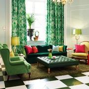 绿色植物系窗帘
