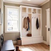欧式白色小户型衣柜玄关一体化设计
