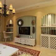 欧式古典客厅电视墙设计