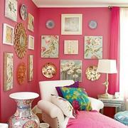粉色照片墙效果图