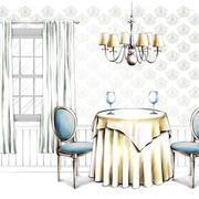 美式餐厅手绘图