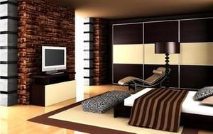 咖啡色电视墙