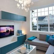 墨蓝色电视墙设计