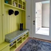 果绿色玄关鞋柜设计