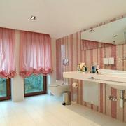 粉色卧室窗帘图片
