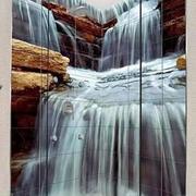 瀑布画背景墙纸