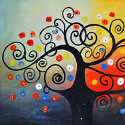 树形彩色装饰画