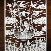 航海船造型剪纸