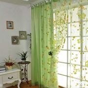 青绿色卧室窗帘设计